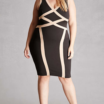Plus Size Contrast Bodycon Dress