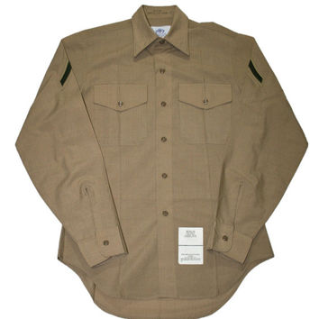 Vintage USMC Khaki Military Button Up Shirt Mens Size 15 - 34 (Medium)