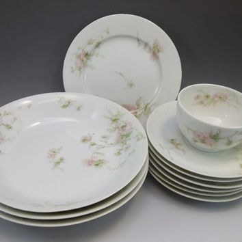 Theodore Haviland Limoges Lot 11 Antique France Soup Bowl Plate Cup Saucer Pink Floral