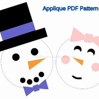 Snowman and Snow Lady Applique PDF Pattern - Quilt Block - Iron On Transfer - Sewing - Winter - Bride Groom Wedding - Instant Download