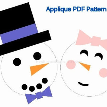 Snowman and Snow Lady Applique PDF Pattern - Quilt Block - Iron On Transfer - Sewing - Crafts - Picnic Winter - Bride Groom Wedding