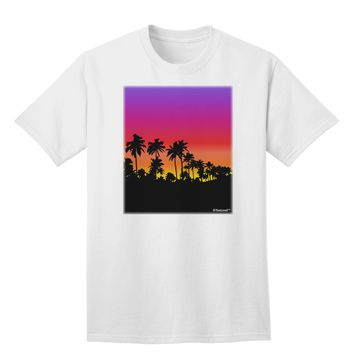 Palm Trees and Sunset Design Adult T-Shirt by TooLoud
