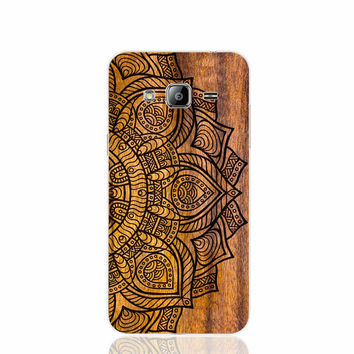 Mandala on wood prints cell phone case cover for Samsung Galaxy J1 J2 J3 J5 J7 MINI ACE 2016 2015 ON5 ON7