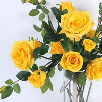 """Real Touch 5 Rose Bloom Stem in Yellow 38"""" Tall"""
