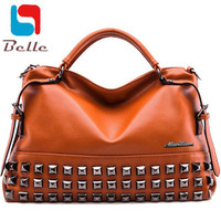 Women bag Ladies 2016 women messenger bags handbags women famous brands big size shoulder bag rivet Dollar prices fashion bolsos