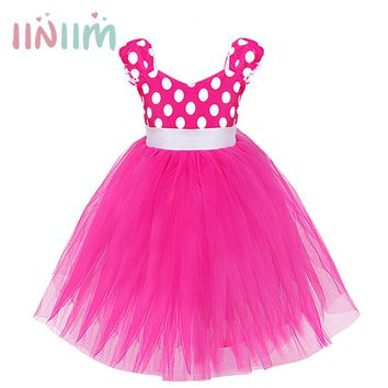 Girls Princess Toddler Polka Dots Dancing Tutu Ball Gown Dress Pageant Birthday Party Kids Children's Costume Cosplay Clothing