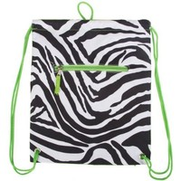 Drawstring Backpack Zebra Green Trim