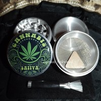 Cannabis Sativa 4 Piece Herb Grinder Grinders Pollen Screen Scraper and Bag from Cognitive Fashioned