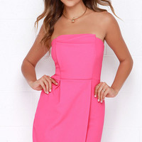 Take a Sweet Hot Pink Strapless Dress