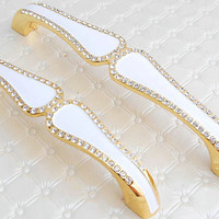 Rhinestone Drawer Pulls Handles Dresser Pull Handle Gold White Glass Crystal / Kitchen Cabinet Knobs / Decorative Knobs Furniture Hardware