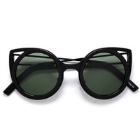 Round Metal Trim High Pointed Tip Cat Eye MOD Sunglasses