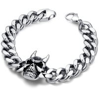 Stainless Steel Gothic Biker Horned Devil Skull Curb Chain Link Bracelet