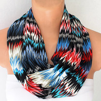 Infinity Scarf Loop Scarf Circle Scarf Cowl Scarf Chevron Print Rainbow Soft and Lightweight Zigzag