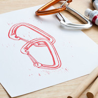 Rock climbing art print, interlocked carabiners. Perfect gift for the climber in your life! Limited edition