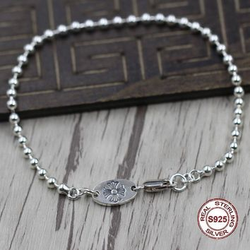 S925 Men's bracelet in Sterling Silver Personality trend of round beads shape Punk style retro classic Send a gift to love