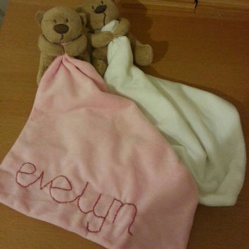 Personalised name embroidered hand stitched custom made soft plush baby comforter blanket teddy toy in Pink, Blue and Cream