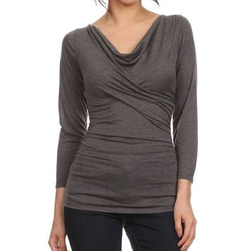Gray Cowl Neck Tee