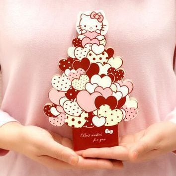Cute Hello Kitty 3D Greeting Card Postcard Birthday Message Card Set Thanksgiving Card Letter Envelope Gift Card