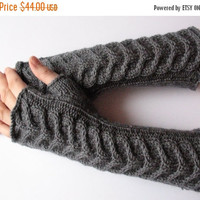 "REGULAR PRICE Fingerless Gloves Long Dark Gray 11"" Mittens Arm Warmers Acrylic"