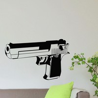 Wall Decal Vinyl Sticker Gun Handgun Weapon Military Decor Sb437