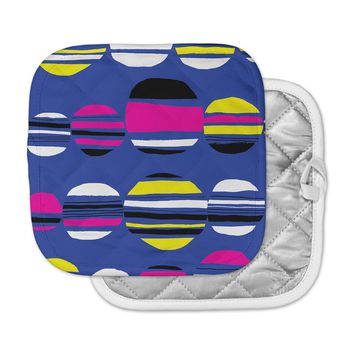 "Emine Ortega ""Retro Circles Cobalt"" Pot Holder"