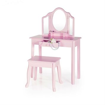 Pink Vanity Table And Stool Set  With Mirrors for The Princess Child In Your Home