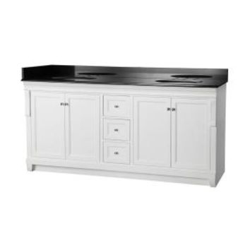Foremost Naples 72 in. Vanity in White with Granite Vanity Top in Black NAWAT7222D at The Home Depot - Mobile