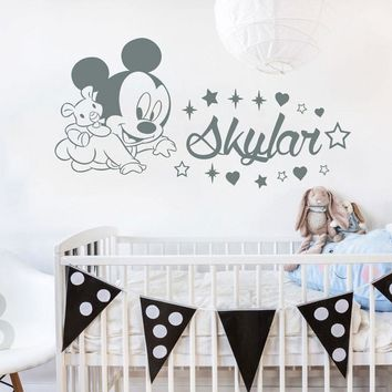 Personalized Baby Name Decal Mickey Mouse Wall Vinyl Sticker Custom Boy Girl Name Decor Bedroom Nursery Baby Decoration N-30