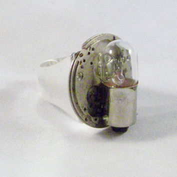 Steam Punk Recycled Captain Ring One size fits most Adjustable light bulb Upcycled Jewelry Men Accessory watch parts Man victorian