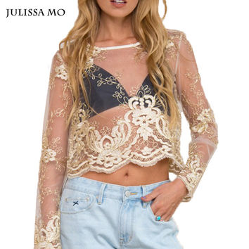 Gold Embroidery Lace Blouse