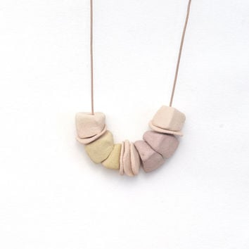 Ceramic Necklace Blush Primitive Rustic Beads Pastels Dusty Pink Lavender Yellow Long Beaded Chunky Necklace