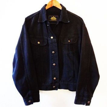 Vintage 90s Black Denim Jean Jacket - President Stone - Medium -