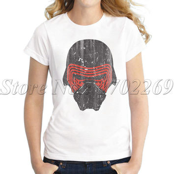 Kylo Ren's Mask retro printed Women t-shirt Star War fashion lady tops short sleeve novelty vintage comics tee shirts