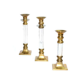 Vintage Lucite Candle Holders Lucite Candlestick Holders Lucite and Brass Candle Holders Graduated Candle Holders Set of 3