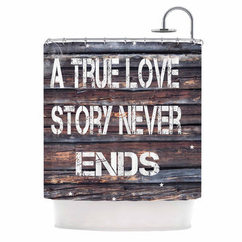 "Suzanne Carter ""True Love"" Contemporary Typography Shower Curtain"