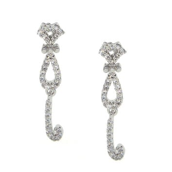 Dear Deer White Gold Plated Cubic Zirconia Cute Cat Stud Earrings