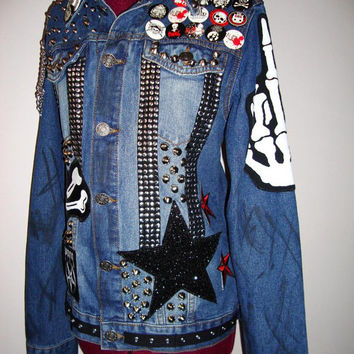 TRASHGLAM misfit Punk ROCKSTAR Great britain flag custom made distresssed denim jeans jacket- Ooak 1980s 80s 1990s