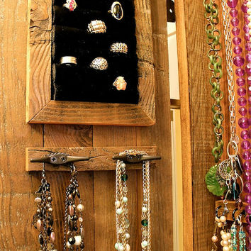 Jewelry Organizer - Storage Cabinet - Necklace - Cabinet - Wood - Wooden - Handmade - Furniture - 44 x 20 x 4.5