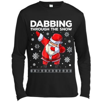 Boys Christmas  Dabbing Santa Through the Snow Kids Long Sleeve Moisture Absorbing Shirt