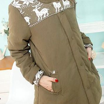 Army Green Floral Pockets Hooded Long Sleeve Maternity Coat