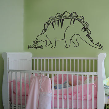 Vinyl Wall Decal Sticker Stegosaurus and Flower #OS_DC693
