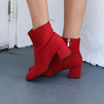 Best Compliment Red Suede Boots - Amazing Lace