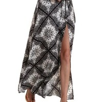 Black/White Tie-Waist Printed Wrap Maxi Skirt by Charlotte Russe