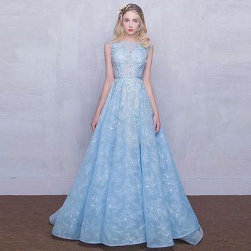2017 New Strapless Sleeveless Lace Flower Evening Dress Prom Dress Bride Banquet Formal Party Homecoming Ball Gown Blue MD1000