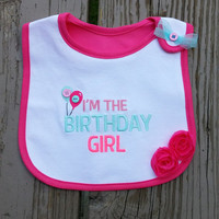 SALE - First Birthday Bib - Baby Girl Birthday - 1st Birthday - Pink