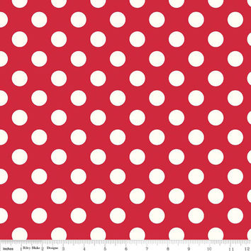 Red Polka Dot Quilting Cotton Fabric, Riley Blake Designs, 1/2 Yard, more available