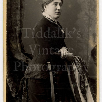 CDV Carte de Visite Photo Victorian Young Woman Standing Portrait (Instantaneous Process) by Gregson & Son of Halifax Blackpool England
