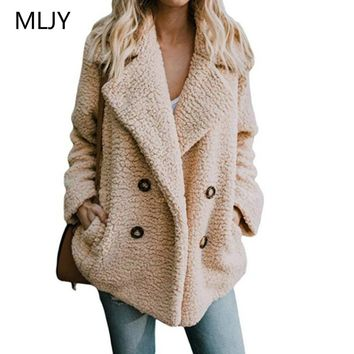 Button Lapel Thick Coat Women Autumn Winter 2018 Wool Blend Loose Warm Overcoat Female Plus Size Camel Vintage Jacket Coat