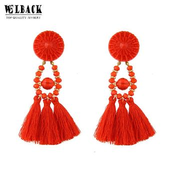 New Fashion Jewelry Vintage Ethnic Style dangle hanging drops tassels earring For Women With Rhinestone Charm