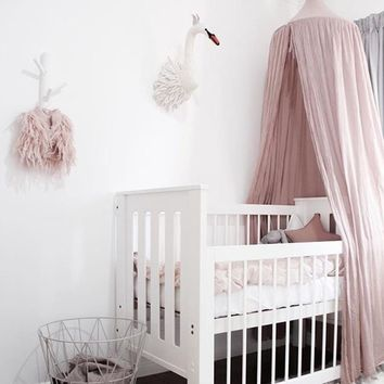Baby Bed Canopy Kids Crib Netting Nordic Style Children Room Curtain Dome Mosquito Net Cotton Baby Girl Mantle Nets Tent
